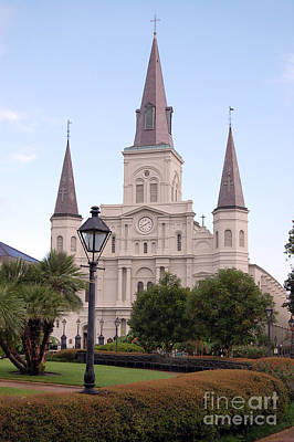 Travel Photograph - St Louis Cathedral And Lampost On Jackson Square In The French Quarter New Orleans by Shawn O'Brien