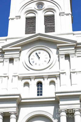 St Louis Cathedral Clock Jackson Square French Quarter New Orleans Diffuse Glow Digital Art Art Print by Shawn O'Brien