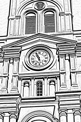 Digital Art - St Louis Cathedral Clock Jackson Square New Orleans Black And White Photocopy Digital Art by Shawn O'Brien