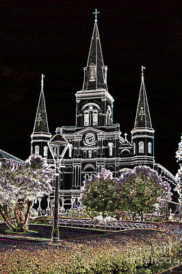 Digital Art - St Louis Cathedral Jackson Square French Quarter New Orleans Glowing Edges Digital Art  by Shawn O'Brien