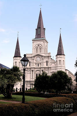 St Louis Cathedral Jackson Square French Quarter New Orleans Ink Outlines Digital Art  Art Print
