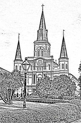 Landmark Digital Art - St Louis Cathedral Jackson Square French Quarter New Orleans Photocopy Digital Art  by Shawn O'Brien