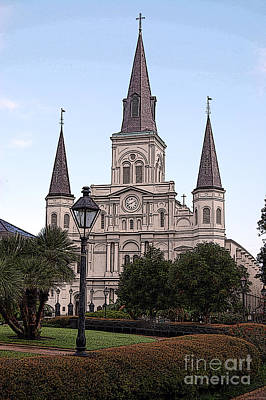 Big Easy Photograph - St Louis Cathedral Jackson Square French Quarter New Orleans Poster Edges Digital Art  by Shawn O'Brien