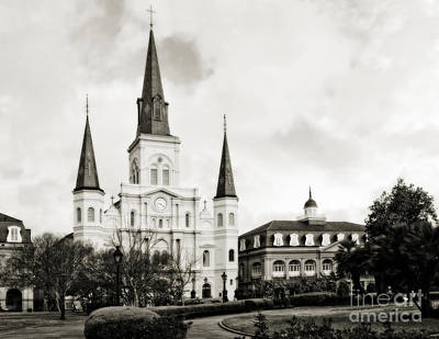 Photograph - St Louis Cathedral New Orleans - Black And White by Kathleen K Parker