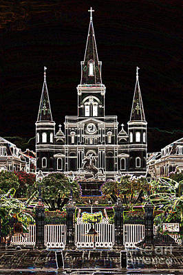 St Louis Cathedral On Jackson Square In The French Quarter New Orleans Glowing Edges Digital Art Art Print