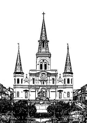 Digital Art - St Louis Cathedral Rising Above Jackson Square New Orleans Black And White Stamp Digital Art by Shawn O'Brien