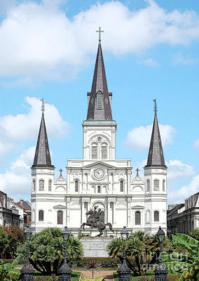 Digital Art - St Louis Cathedral Rising Above Palms Jackson Square New Orleans Ink Outlines Digital Art by Shawn O'Brien