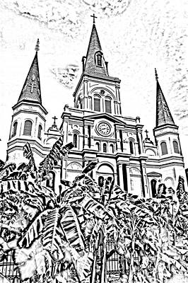 St Louis Cathedral Rising Above Palms Jackson Square New Orleans Photocopy Digital Art Print by Shawn O'Brien
