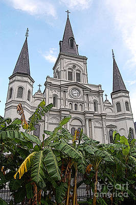 New Orleans Digital Art - St Louis Cathedral Rising Above Palms Jackson Square New Orleans Poster Edges Digital Art by Shawn O'Brien