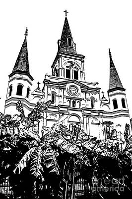 St Louis Cathedral Rising Above Palms Jackson Square New Orleans Stamp Digital Art Print by Shawn O'Brien