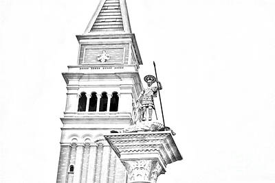 Digital Art - St Marks Bell Tower And Statue Italy Pavilion Epcot Walt Disney World Print Black And White Line Art by Shawn O'Brien