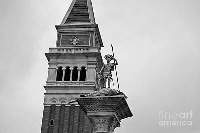 Photograph - St Marks Bell Tower And Statue Italy Pavilion Epcot Walt Disney World Prints Black And White by Shawn O'Brien