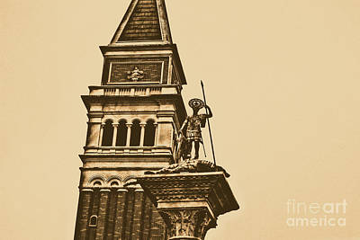 Digital Art - St Marks Bell Tower And Statue Italy Pavilion Epcot Walt Disney World Prints Rustic by Shawn O'Brien