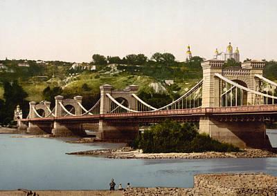 Kiev Photograph - St Nicholas Bridge In Kiev - Ukraine - Ca 1900 by International  Images