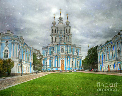 Blues And Greens Photograph - Smolny Convent. St. Petersburg. Russia by Juli Scalzi