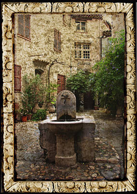 No People Photograph - St. Paul De Vence Fountain Textured Version by Carla Parris