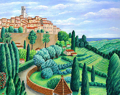 Hill Top Village Painting - St. Paul De Vence by Ronald Haber