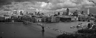 London Skyline Photograph - St Paul's And The City Panorama Bw by Gary Eason