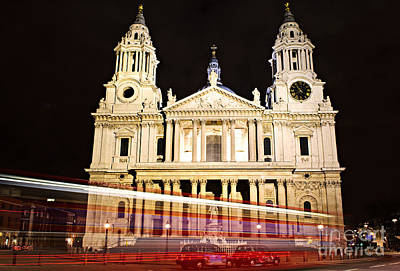 St. Paul's Cathedral In London At Night Art Print by Elena Elisseeva