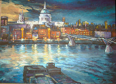 St Pauls Cathedral With Millenium Bridge Original
