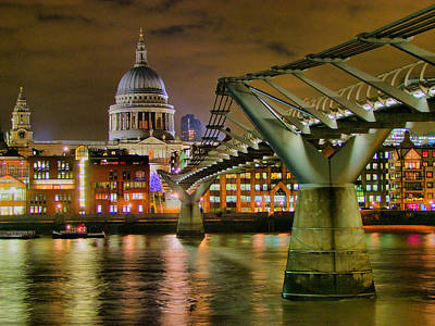St Pauls Catherderal And Millennium Footbridge - Night - Hdr Art Print by Colin J Williams Photography