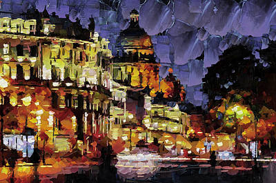 Building Exterior Digital Art - St. Pete Night Lights by Yury Malkov