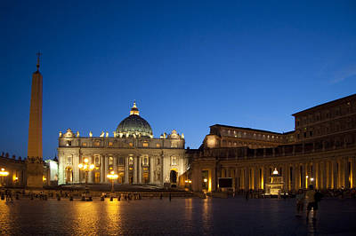 St. Peter's Basilica At Night Art Print by David Smith