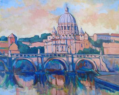 Wall Art - Painting - St Peters Rome by Edward Abela