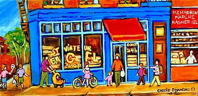 Painting - St. Viateur Bagel Summer In Montreal Near Park Avenue Montreal City Scene by Carole Spandau