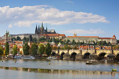 St Charles Bridge Photograph - St Vitus Cathedral & The Charles Bridge, Prague by Douglas Pearson