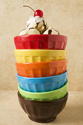Stack Of Colored Bowls With Ice Cream On Top Art Print by Garry Gay