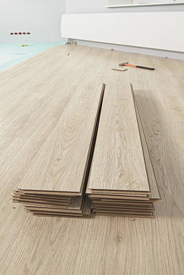 Stack Of Laminate Flooring Planks. Wood Art Print by Magomed Magomedagaev