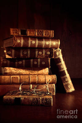 Photograph - Stack Of Old Books With Reading Glasses  by Sandra Cunningham