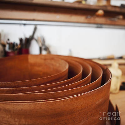 Stack Of Wooden Bowls Art Print by Jetta Productions, Inc