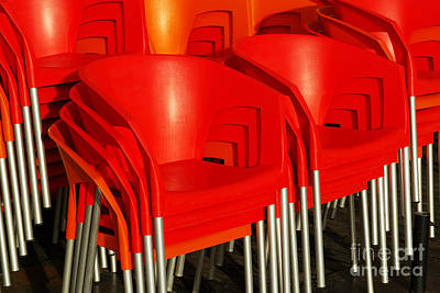 Empty Chairs Photograph - Stacked Chairs by Carlos Caetano