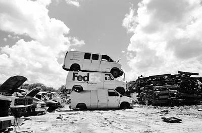 Photograph - Stacked Junk Bw by Lynda Dawson-Youngclaus