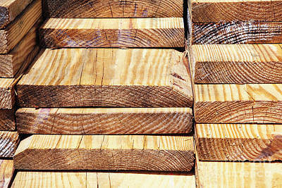 Stacked Wooden Planks Art Print by Skip Nall