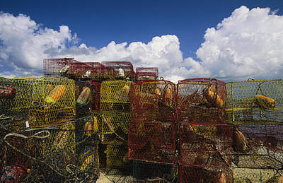 Stacks Of Crab Pots With Floats Sitting Art Print