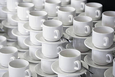 Stacks Of Cups And Saucers Art Print by Tobias Titz