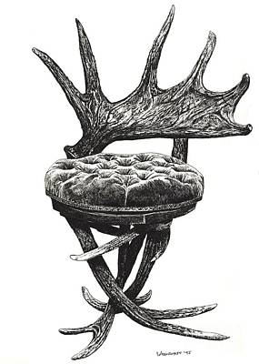 Stag Antlers Chair Art Print by Adendorff Design