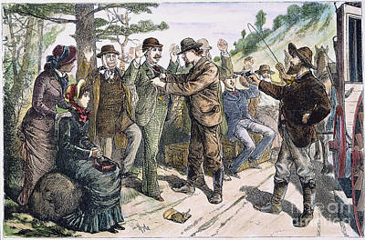 Stagecoach Robbery, 1880s Art Print