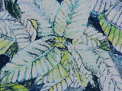 Tropical Stain Glass Painting - Stain Glass Poinsettia by Mindy Newman
