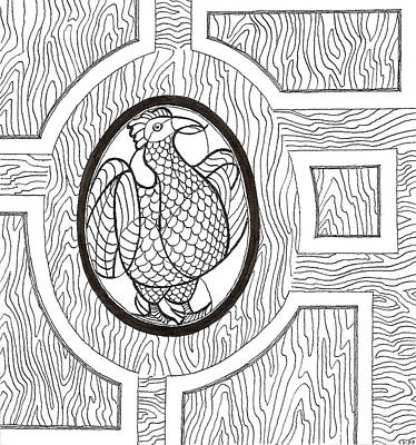 Drawing - Stained Glass Chicken In Egg by Phil Burns