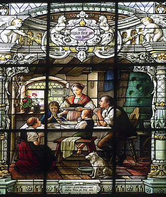 Stained Glass Family Giving Thanks Art Print by Sally Weigand