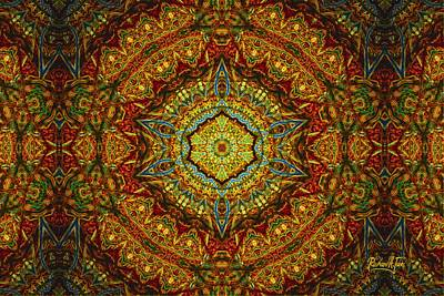 Stained Glass Gas Ring Mandala Art Print by Richard H Jones