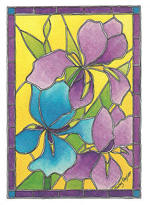Painting - Stained Glass Iris by Terry Taylor