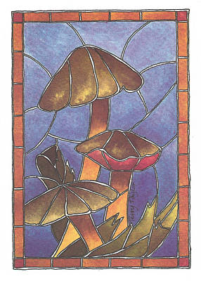 Painting - Stained Glass Mushrooms by Terry Taylor