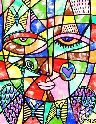 Grunge Skull Painting - Stainglass Spirit Butterfly Angel by Sandra Silberzweig
