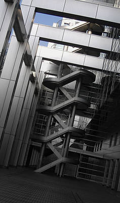 Japan City Photograph - Stairs Fuji Building by Naxart Studio