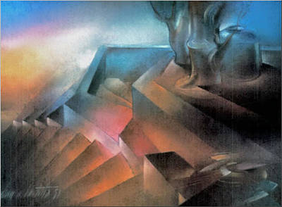 Pastel - Stairscape 1981 by Glenn Bautista